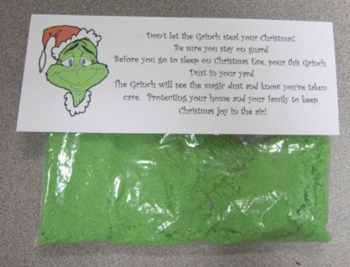 Grinch Dust - great alternative to Reindeer Food! I love this! :) I am going to have to do this with my class after reading the Grinch!: