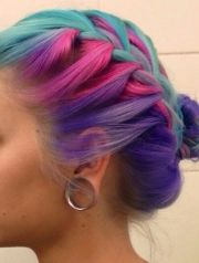 blue pink purple braided dyed hair