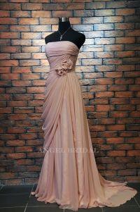 Dark Blush Handmade Flowers Drape Long bridesmaid dress ...