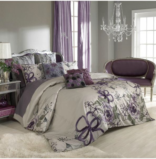 sage wall color + purple curtains/bedspread.