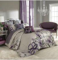 sage wall color + purple curtains/bedspread.