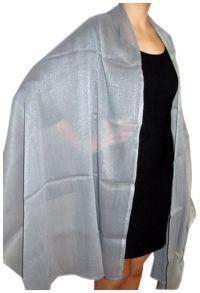 Very Large Silver Chiffon Shawl Ruana Wrap | Evening ...
