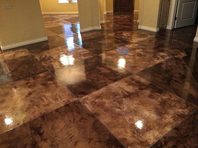 Acid Stain Tile Pattern Concrete Floors Owens Concrete