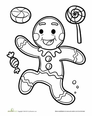 Gingerbread man coloring page, Gingerbread man and