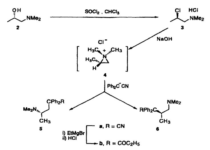 Methadone synthesis reaction #chemistry #methadone #