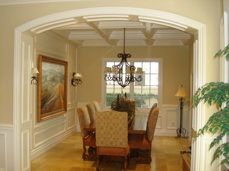 coffered ceiling  Trim work wainscot mouldings panels