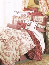 red toile bedding #textiles