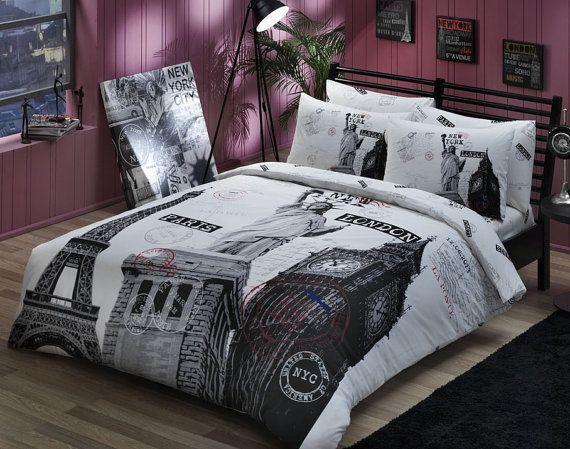 Paris London New York Twin QUEEN Double Bedding by Dekorative 9400  Bedding  Pinterest