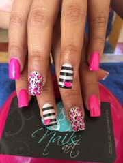 pink black nails ideas