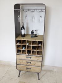 This industrial tall retro metal and wood drinks cabinet ...
