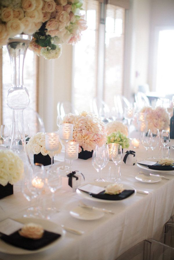 This is basically our table, with different color centerpieces- obviously I want ours to be blue