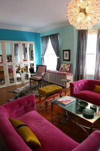 bright colours! Living room Teal wall / blue wall / pink ...
