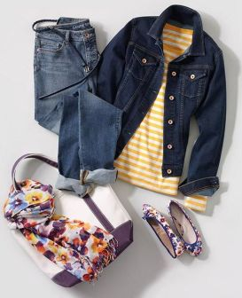 Our main rule for denim - mix, don't match. Wear a denim jacket and jeans in different shades - add pops of color with a striped tee, floral scarf and shoes! See more of our favorite looks for Fall at Lands' End.: