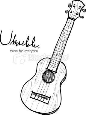 Ukulele sketch Royalty Free Stock Vector Art Illustration