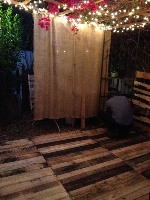 Romantic Patio With Pallet Floor Deck  Pallet Ideas  On