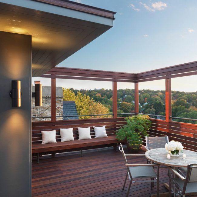 Balkon Sichtschutz Holz Gartenbank Moderne Gestaltung Idee