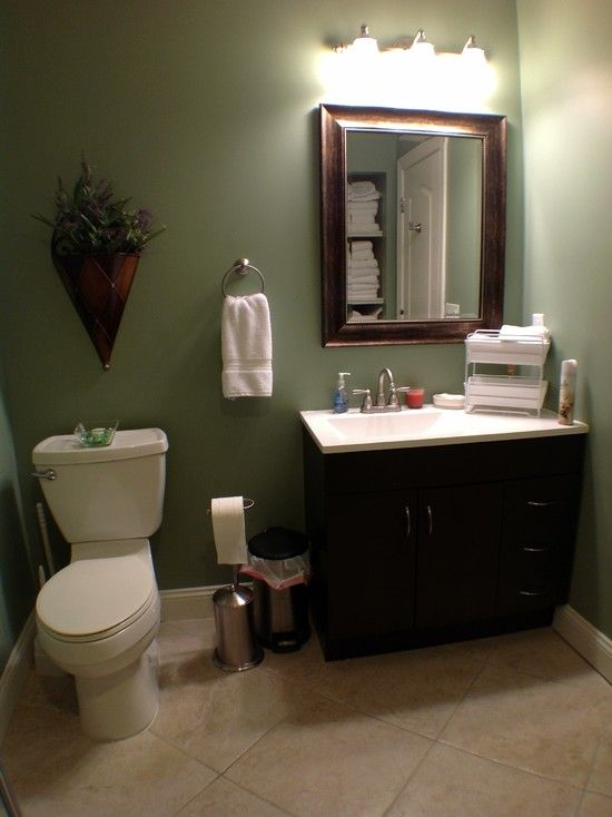 bathrooms tiled white vanity sage green walls  Basement Bathroom Ideas With Green Wall Paint