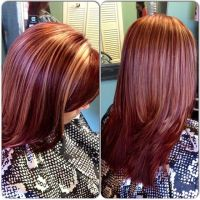 Mahogany red with blonde highlights | Hair | Pinterest ...