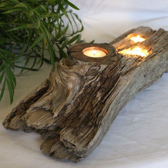 Driftwood Centerpiece  Centerpieces Large lanterns and Driftwood candle holders