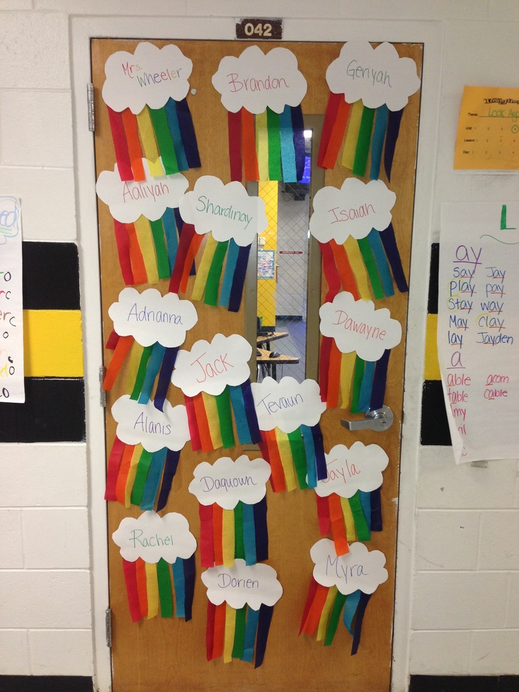 rainbow classroom door decor