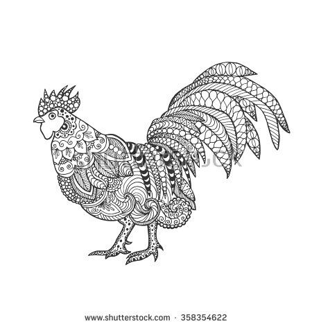 Rooster. Birds. Black white hand drawn doodle. Ethnic