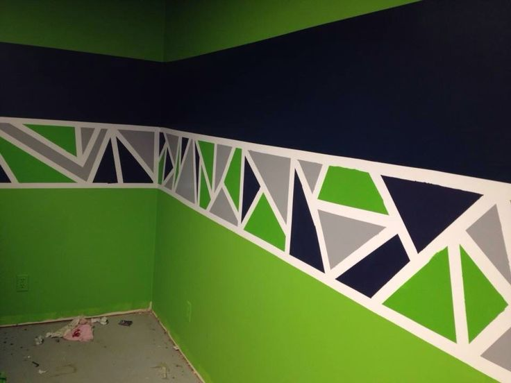 Painted Geometric Triangle Border In Seattle Seahawks