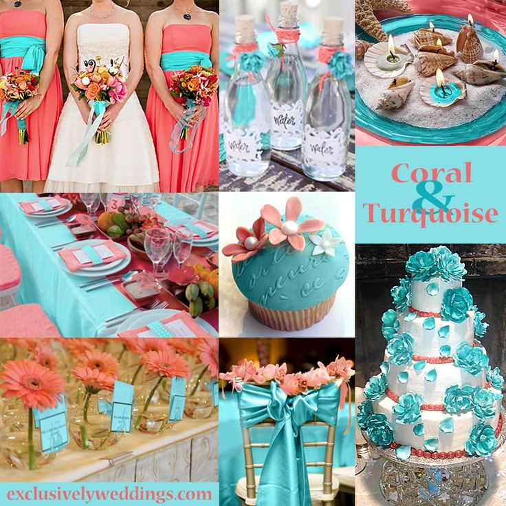 Coral and Turquoise Wedding Colors  exclusivelyweddings