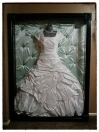 Shadow box display for wedding gown
