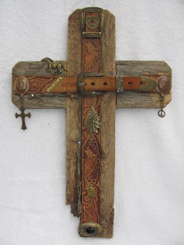 Recycled wood cross, Bronze cross, handcrafted western cross OOAK cedar wood cross,11 X 16. $70.00, via