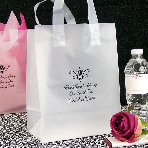 8 X 10 Custom Printed Frosted Wedding Guest Gift Bags