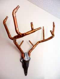 Antlers, Industrial Handcrafted Copper Wall Art, Faux