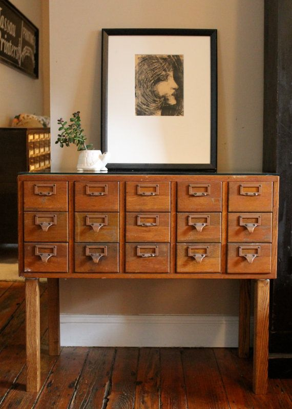 Reserved for Dana Vintage Library Card Catalog File