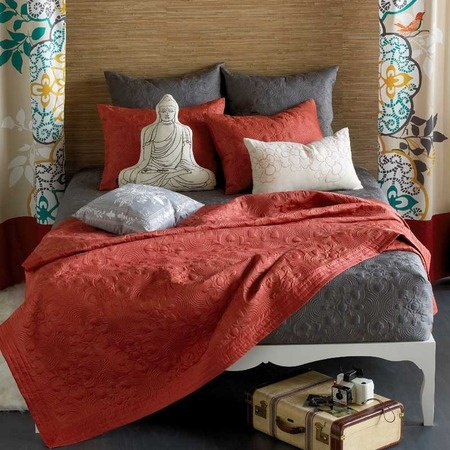 grey and coral bedding  My new apartment  Pinterest