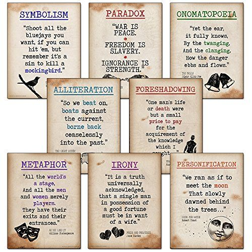Literary Terms Mini Quote Poster Set Featuring