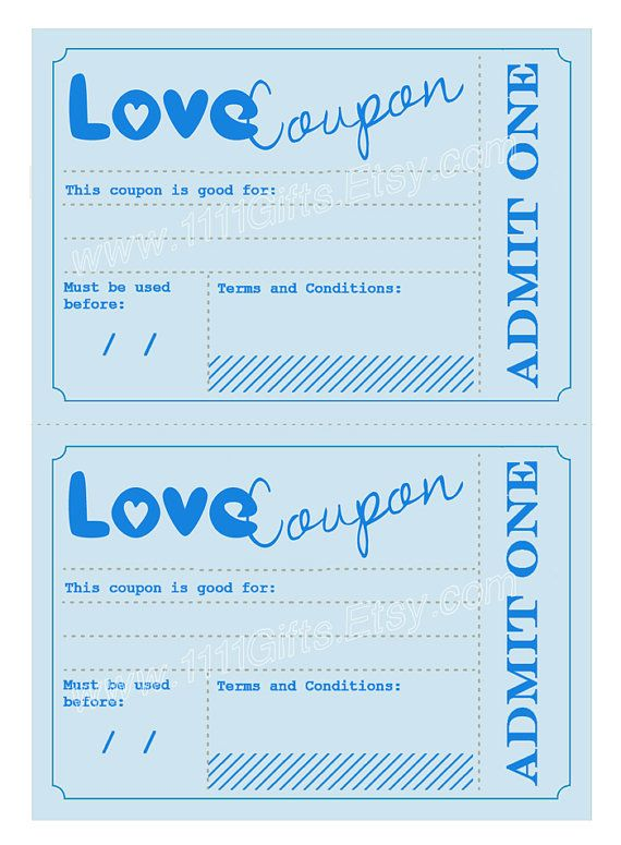 Printable Love Coupons Romantic Gift Idea For Him