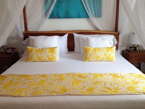 OTOMI BED RUNNER Multi Colour King Size Hand Embroidered Runners Yellow And Beds