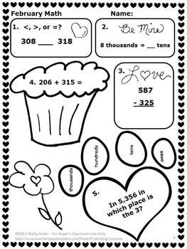 FREE February Grade 3 Math: In this FREE printable
