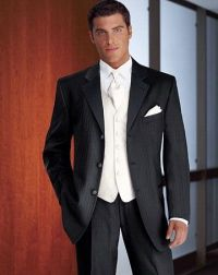 I love a white vest and black tux.