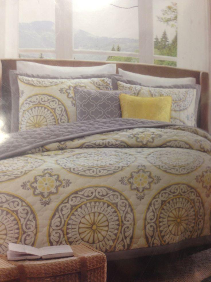 Grey  yellow bedding  Target  Bedroom ideas  Pinterest