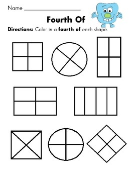 Color in a fourth of the shape (and more worksheets like