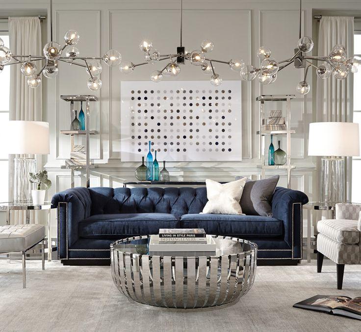 sofas with nailhead trim modern leather sofa living room ideas blue chesterfield   luxury decor ...