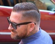 shaved part hair design barber