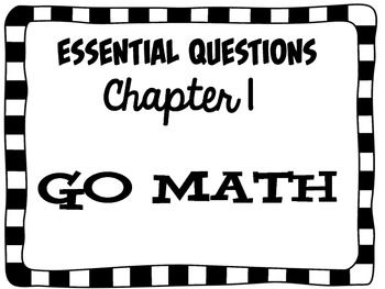 2nd Grade Go Math Essential Questions Chapter 1 FREEBIE