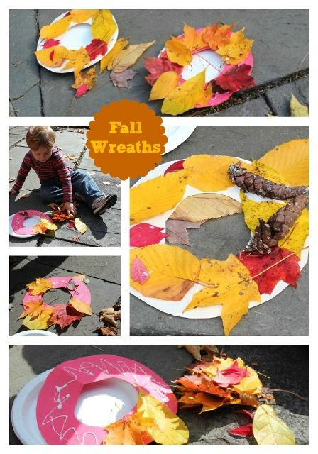 Leaf Wreaths, leaf paintings, scavenger hunt…. Fall activities for toddlers +