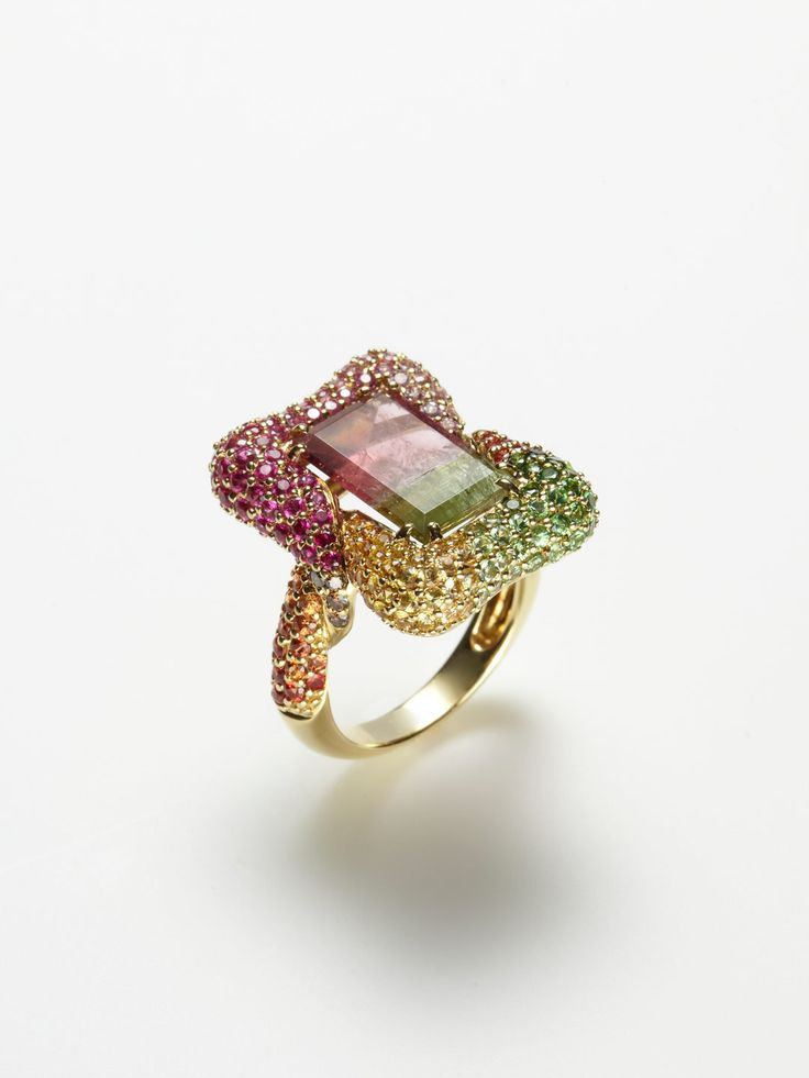 BICOLOR TOURMALINE RECTANGULAR RING by Robert Wander at Gilt  Rings  Pinterest  Products