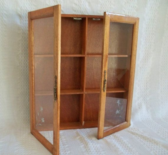 Vintage wooden wood wall display cabinet apothecary spice
