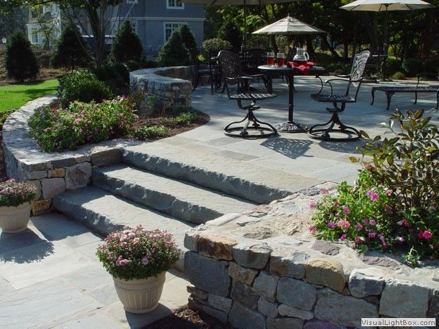 Slate Rock Stairs Off Of Patio New Jersey Landscaping