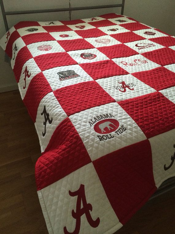 Alabama Handcrafted Full Size Football Quilt Embroidery Pre Order My Boyfriend Boyfriends And