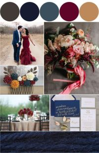 dusty blue and marsala wedding color themes