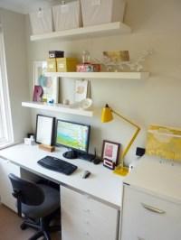 floating shelves above office desk   Baby Love   Pinterest ...